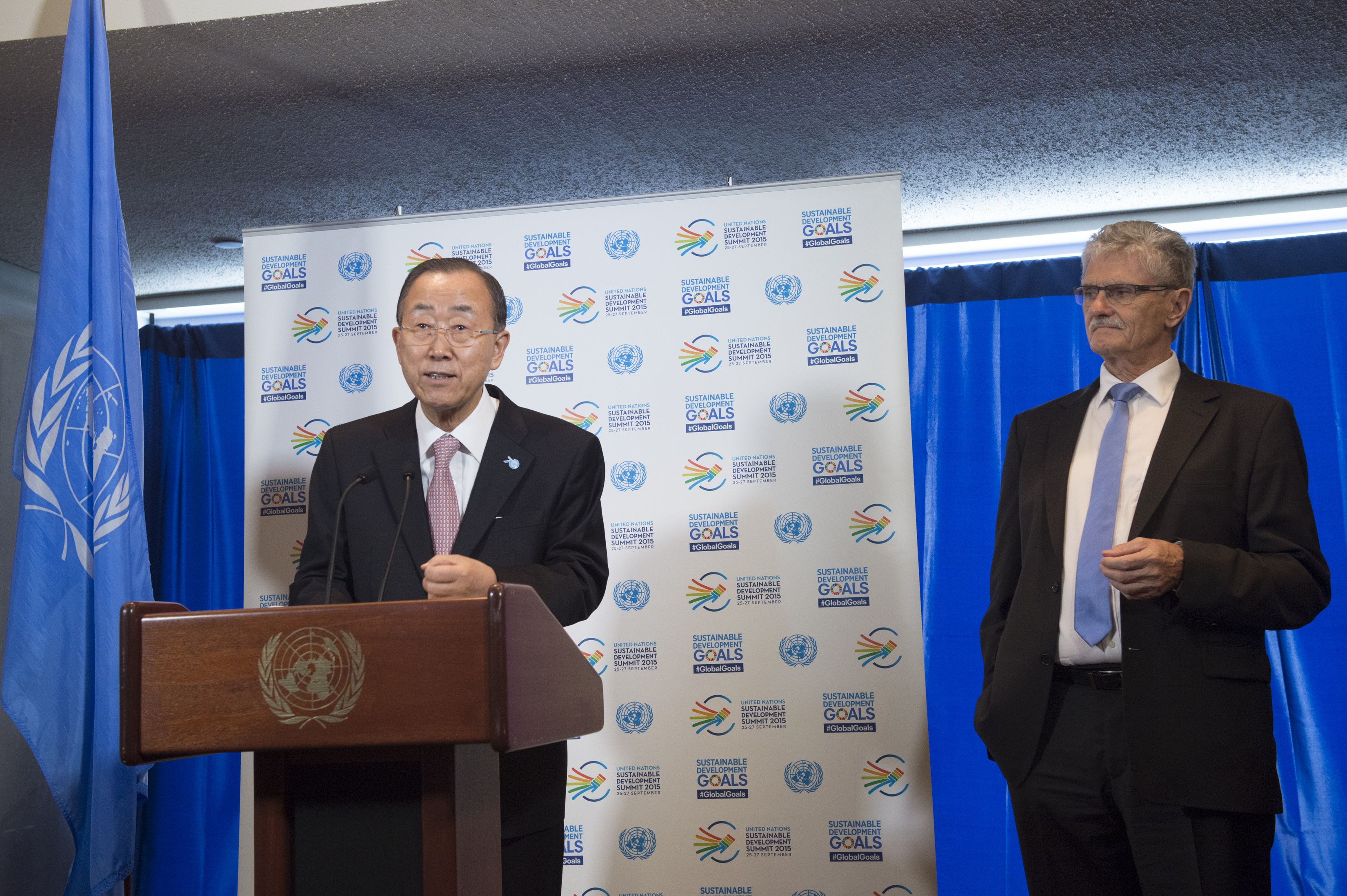 Stakeout by Secretary-General Ban Ki-moon and PGA