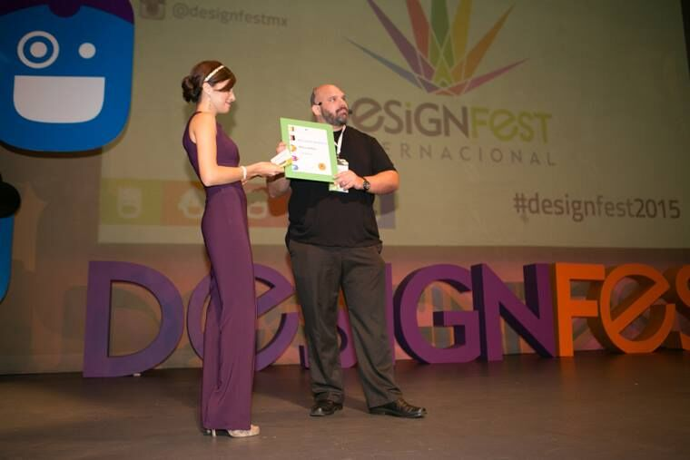 Receiving recognition at DESIGN FEST